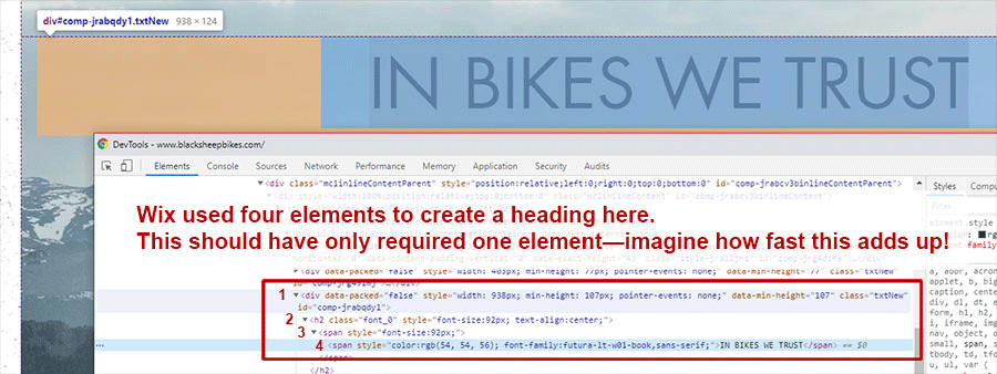 screenshot showing how wix nested elements' HTML is bad for SEO